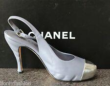 NIB Authentic CHANEL Grey Platform Logo Silver Cap Toe Slingback Pumps Shoes 39