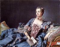 """Stunning Oil francois boucher Female Portrait of Madame de Pompadour canvas 36"""""""