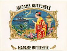 CIGAR BOX LABEL INNER MADAME BUTTERFLY EMBOSSED BEAUTY ORIGINAL JAPAN C1915