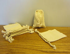 """2 NEW COTTON MUSLIN BAG WITH DRAWSTRINGS 4"""" BY 6"""" BATH SOAP HERBS QUALITY BAGS"""