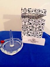 Crystal Clear Oleg Cassini Heart Jewelry Ring Holder in Box Designer Etched Sign