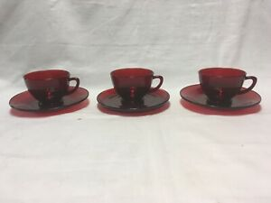 SET OF 3 VINTAGE RUBY RED GLASS TEA/COFFEE CUP AND SAUCERS