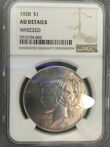 1928 Peace Dollar $1 NGC AU Details Whizzed Rare Date