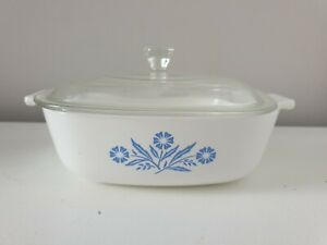 Vintage Retro Corning Ware Pyrosil Blue Cornflower Casserole Dish & Lid 1.5 pt