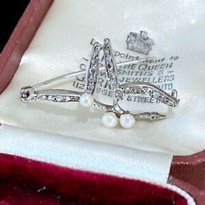 Fabulous, Belle Epoque Platinum Diamond & Pearl 'mistletoe' brooch. Circa 1910