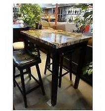 3 Pc Pub Table and Stools Counter Height Leather Marble Breakfast Nook Kitchen