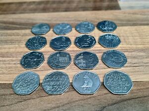50p Job Lot 16x Fifty Pence Coins Collection rare #coinhunt