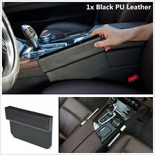 Black PU Leather Car Seat Side Console Slit Gap Filler Catcher Caddy Storage Box