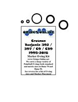 Crossman Benjamin 392 / 397 / C9 / CB9 Airsoft O-ring Oring Kit x 4 rebuilds