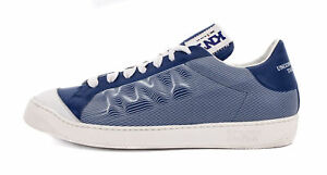 KITON KNT SNEAKERS SHOES blue white calfskin leather luxury Italy 42 us 9