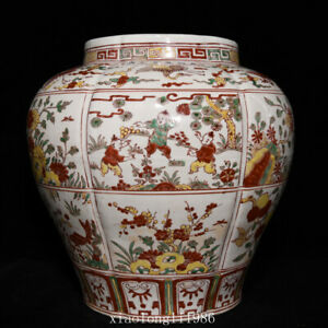 "13.6""China antique Ming Dynasty Green color Baby play Gualeng jar"