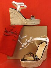 NIB LOUBOUTIN SPACHICA LEOPARD PRINT ESPADRILLE WEDGE LEATHER SANDALS 38 $675