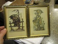 Two Vintage Miniature Framed Hummel Print Wooden Frame Germany - EZR