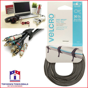 """30 Ties Cable Cord Wraps Reusable Straps 15"""" x 1/2"""" Die Cut Thin VELCRO Brand"""