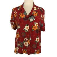 VTG MS.LEE Red Hawaiian Top Blouse Floral Print Bahama Vintage Women's Size XL