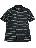 Nike Golf Mens M Black White Polo Shirt Striped Short Sleeve Dri-Fit