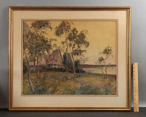 Large Antique BORIS MAJOR Watercolor Gouache Painting Country Cottage Landscape