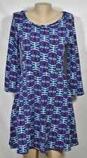 MIAMI Blue Purple Black Patterned Knit Dress Large 3/4 Sleeves Fit & Flare USA