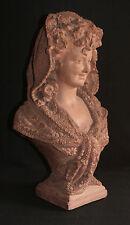 Buste de demoiselle au foulard Statue en terre cuite Laure Coutan Martin XIX ème