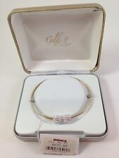 "14K Yellow Gold Bangle Bracelet with 2 Crystal ""Snowballs"" MRRP $675"