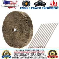 "Titanium Exhaust//Header Insulating Motorcycle Manifold Heat Wrap 1/""x24.6ft Roll"