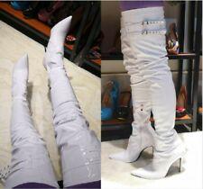 Women's Clubwear Over Knee High Boots Buckle Pointed Toe Stilettos Heel Side Zip