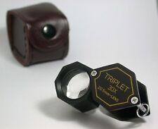 30X TRIPLET 20.5mm Black Polygon LOUPE Gem Tool  New !