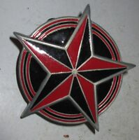 Great American Products Fine Pewter 2002 Belt Buckle Star Red Black Enamel Nice