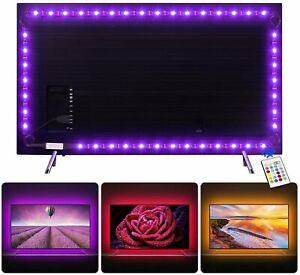 2M USB TV LED Backlight Strip Lights Dimmable For 32 40 50 60 Inches HDTV Remote
