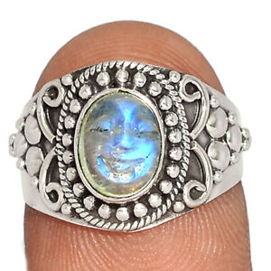 Carved Face Rainbow Moonstone, India 925 Silver Ring s.6 BR81867 272K