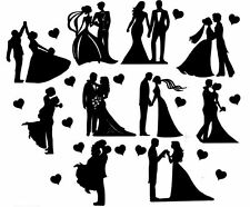 Die Cut Outs Silhouette Wedding Couples shapes x 10 Romance Valentine engagement