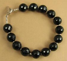 Black onyx bracelet. Faceted, chunky.  Fine and sterling silver. Handmade