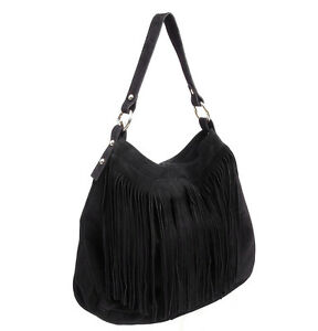 Made in Italy ! Ladies beautyful  HOBO suede leather  Fringe ! Hand made Black
