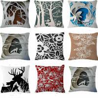 """Animal scissor-cut Cotton Linen Throw Pillow Case Cushion Cover Home Decor 18"""""""