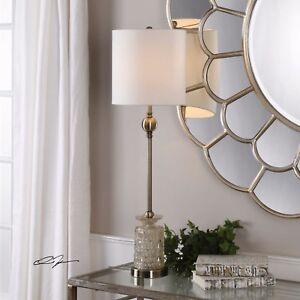 "FLAVIANA XXL 34"" LIGHT CHAMPAGNE GLASS TABLE LAMP AGE BRASS METAL UTTERMOST"