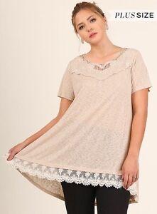 Umgee Plus Tan High Low Lace Hem Cut Out Neckline Short Sleeve Tunic Top XL 2X