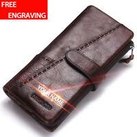 Men's Genuine Leather Long Wallet RFID Blocking Bifold Card Holder Purse Vintage