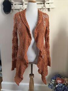 Karen Kane orange Crochet Cardigan Small