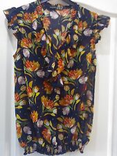 PRETTY NAVY FLORAL SUMMER TOP, SIZE 8 **VGC**