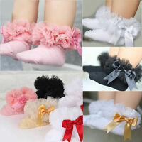 BABY Kids Girls Princess Casual Lace Ruffle Frilly Dress Cotton Ankle Socks Gift