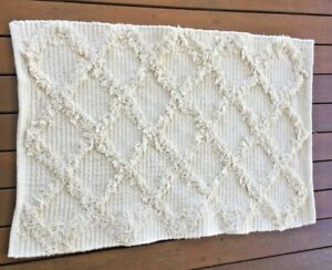 Hand Woven Cotton Cream Chic Rectangle Diamond Tufted Throw Rug