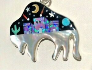 Purple Bison Buffalo Opal Native Indian Silhouette pendant Turquoise Sterling