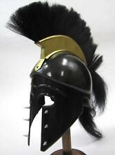 GREEK CORINTHIAN ATHENIAN SPARTAN Hoplite Warrior BLACK HELMET w/ PLUME + SPIKES
