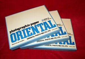 Vintage Oriental New Seagull Photographic Paper 8x10 Factory Sealed (lot of 3)