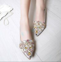 Womens Grace Floral Fashion Rhinestone Leather Slip On Pointed Toe Wedding Shoes