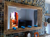 large Rustic Reclaimed wooden Farmhouse Mirror with Tea light shelf