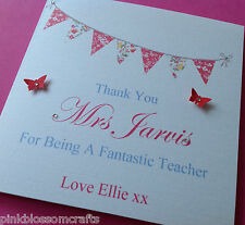PERSONALISED THANK YOU TEACHER SCHOOL CARD  TEACHING ASSISTANT HELPER ETC.