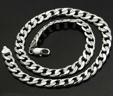 18k white solid gold filled woman man curb link chain necklace N-A235