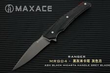 Maxace Ranger Folder Knife Ash Black Micarta Handle Plain Gray XW42 Blade MRG04