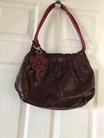 BRIGHTON Burgandy Leather textured tote purse